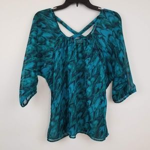 Express cross over back chiffon blouse top size S